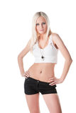 Mulher nova quente nos shorts Fotos de Stock