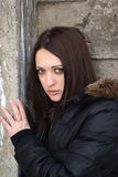 Mulher nova Scared fotos de stock royalty free