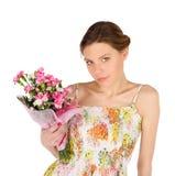 Mulher nova sensual com flores fotografia de stock royalty free