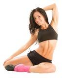 Mulher nova 'sexy' da ioga que faz o exercício yogic no isolado Fotografia de Stock