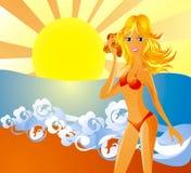 Mulher nova 'sexy' no biquini em uma praia Fotografia de Stock