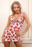 Mulher nova 'sexy' que levanta perto do armário Fotografia de Stock Royalty Free
