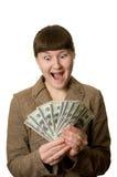 Mulher nova Shouting com dinheiro Fotografia de Stock