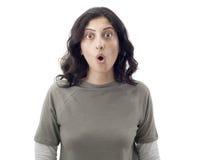 Mulher nova surpreendida Fotografia de Stock Royalty Free