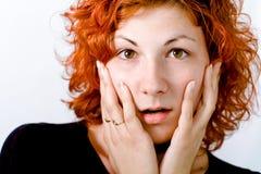 Mulher nova surpreendida Fotografia de Stock