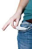 A mulher nova tem o bolso vazio das calças Imagens de Stock