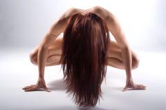 Mulher nu com cabelo longo Fotos de Stock Royalty Free