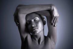 Mulher nu com composição de prata Imagens de Stock