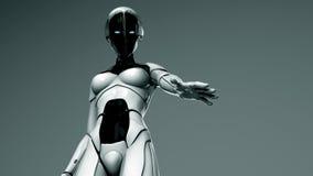 Mulher - o robô prende-lhe para fora sua mão ilustração stock