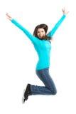Mulher ocasional nova, salto do estudante. imagens de stock royalty free