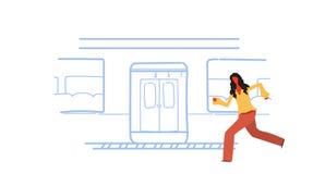 A mulher ocasional que corre para travar o esboço subterrâneo do bonde do transporte público da cidade do metro do trem rabisca o ilustração royalty free