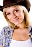 Mulher ocidental no chapéu de cowboy fotografia de stock royalty free