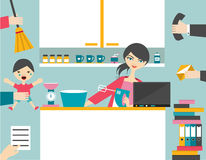 Mulher ocupada do multitask Fotos de Stock