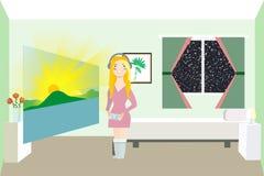 A mulher olha o nascer do sol Realidade aumentada Fotos de Stock Royalty Free