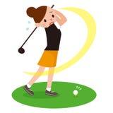 Mulher para jogar o golfe ilustração stock