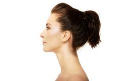A mulher pensativa bonita com compõe Imagens de Stock Royalty Free