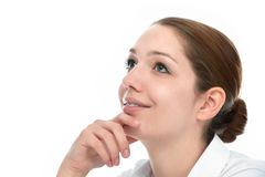 Mulher pensativa bonita que olha acima Fotos de Stock