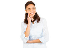 Mulher pensativa com o dedo no queixo Imagem de Stock Royalty Free