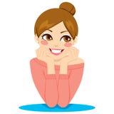 Mulher pensativa feliz Imagens de Stock Royalty Free