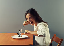 Mulher pequena pronto para comer da mulher Imagem de Stock