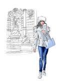 Mulher perto do Saint Michel em Paris ilustração do vetor