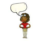 mulher piloto retro dos desenhos animados com bolha do discurso Foto de Stock Royalty Free