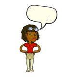 mulher piloto retro dos desenhos animados com bolha do discurso Fotografia de Stock Royalty Free