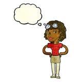 mulher piloto retro dos desenhos animados com bolha do pensamento Fotos de Stock