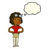 mulher piloto retro dos desenhos animados com bolha do pensamento Imagem de Stock Royalty Free