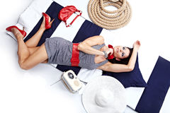 Mulher Pin-acima Imagens de Stock Royalty Free