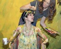 Mulher pintada na foto 2016 mais a expo e a feira profissional internacionais da conferência Imagens de Stock