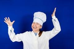 Mulher positiva do cozinheiro Imagem de Stock Royalty Free