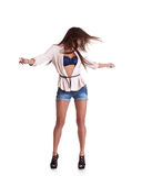 Mulher positiva nos shorts Foto de Stock