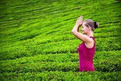 Mulher Praying em plantações de chá imagens de stock