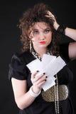 Mulher preocupada que calcula suas contas Imagem de Stock Royalty Free