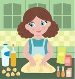 A mulher prepara a massa de pão Foto de Stock
