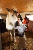 A mulher prepara o cavalo para a equitação imagem de stock royalty free