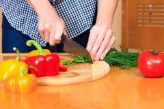 A mulher prepara uma salada Imagens de Stock Royalty Free