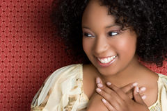 Mulher preta de sorriso Foto de Stock