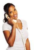 Mulher preta no telefone Fotografia de Stock