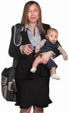 Mulher profissional triste com bebê Imagem de Stock Royalty Free