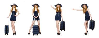 A mulher pronta para as férias de verão isoladas no branco Fotografia de Stock