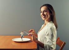 Mulher pronto para comer Foto de Stock Royalty Free