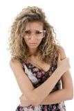 A mulher protege dentro vidros Fotos de Stock Royalty Free
