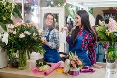 A mulher pulveriza a água nas flores imagens de stock royalty free