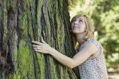 Mulher que abraça o grande tronco de árvore ao olhar acima fotografia de stock