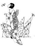 Mulher que admira libélulas ilustração royalty free