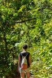Mulher que anda ao longo de um trajeto através da selva Imagens de Stock Royalty Free