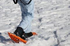 Mulher que anda com sapatos de neve Imagens de Stock