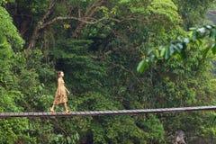 Mulher que anda na ponte da selva Fotografia de Stock Royalty Free